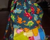 dinosaurs peek a boo toy sack