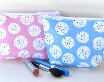 Sand Dollar Padded Flat bottomed Cosmetic Bag/Zippered Pouch Pink Blue