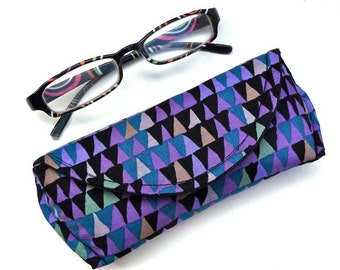 Reading Glasses Case - Sunglass Case - Eyeglass Case - Eyeglass Holder - Sunglass Holder - Magnetic - Purple - Triangle