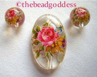 Beautiful Japanese TENSHA Beads Rose BOUQUET on Crystal Oval SET