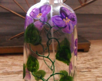 Hand-Painted Glass SPRAY BOTTLE for Perfume Purple Flowers One-Of-A-Kind