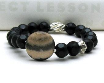 Black Sunstone Modern Beaded Bracelet, Black Agate and Sunstone Stretch Bracelet, Animal Print Focal, For Her Under 150
