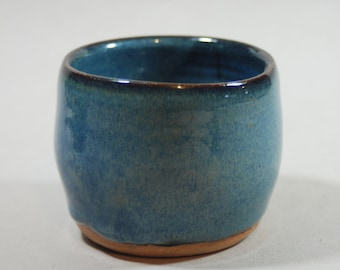 BLUE shot glass, drinking cup, ceramic, pottery, handmade and ready to ship M15