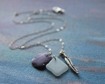 Sterling Silver Natural Sea Glass and Shell Charm Necklace