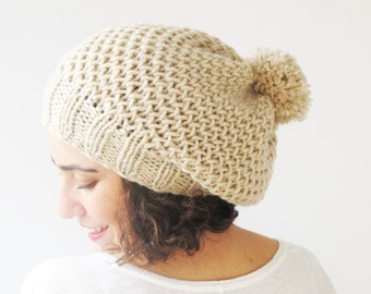 Ecru Slouchy Hat with Pon Pon by Afra