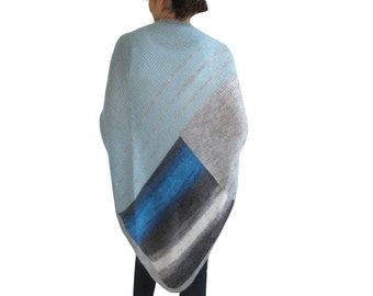 Triangle Mohair Shawl Blue - Gray Tones Color by Afra