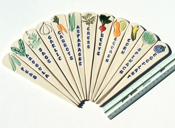Holiday Special, 10 Percent Off All Garden Markers, Now Until Christmas,  Six Ceramic Garden Markers, Hand Painted Vegetables And Herbs