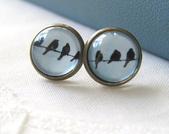 Birds on a Wire Mismatched Antique Brass Post Earrings
