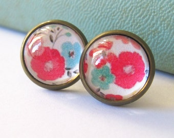 Bright Floral Antique Brass Post Earrings