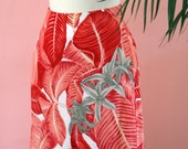 Red, Coral, White and Gray Tropical Print Fully Lined Skirt Size 6