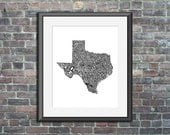 Texas typography map art print 16x20 customizable personalized state poster custom wall decor engagement wedding housewarming gift