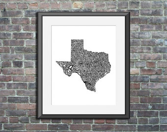 Texas typography map art print 11x14 customizable personalized state poster custom wall decor engagement wedding housewarming gift