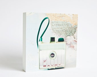 Take me with you - mint camera and pastel world map photo block, savoy camera, quirky home decor, vintage camera, dorm decor, for her