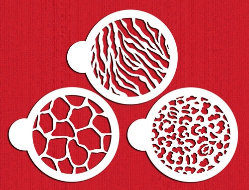 Animal Skin Print Stencil Set For Cookies Cakes & Cupcakes