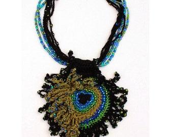 Handmade crochet Peacock feather beads glass vegan free form black blue green