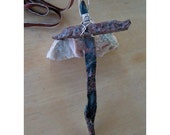 OLD Rugged CROSS - Obsidian Needle - Ornament - Totem - Large