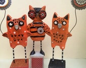 Halloween Owl Folk Art Sculpture in Black White and Orange with kitty cat