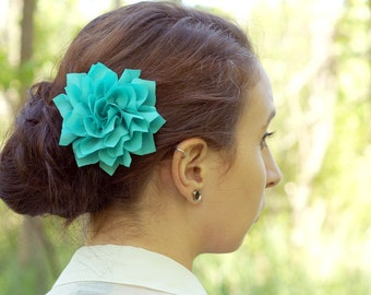 Turquoise Flower Hair Clip - Lotus Blossom - With or Without Rhinestone Center