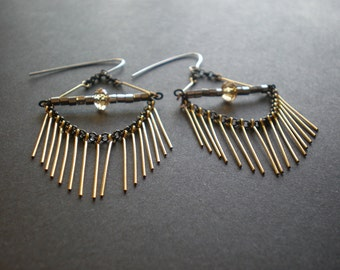 Fringe Earrings|Geometric Earrings|Spike Earrings|Hanging Chain|Gold & Black Dangle Earrings|Look Like Eyelashes|Christmas Gift Best Friend