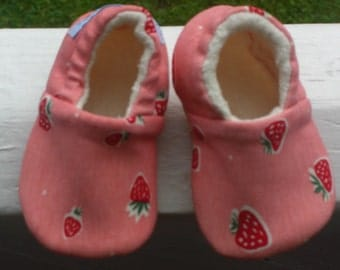Birch Everyday Party, Baby Shoes, Baby Slippers, Srawberries, Birch Knit, Eco-Friendly, Organic Cotton, Squares, Rose, Pink,Baby Girl