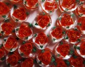 Poinsettia Christmas Flower Hand Made Lampwork Murrini COE 104 6pc.