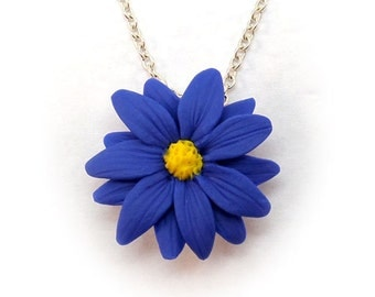 Aster Blue Flower Necklace - Blue Daisy,Aster Jewelry Collection , September Birthday Birth Flower