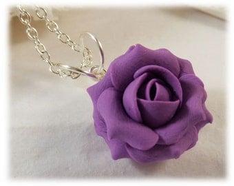 Dainty Purple Rose Necklace - Purple Rose Jewelry, Purple Flower Necklace