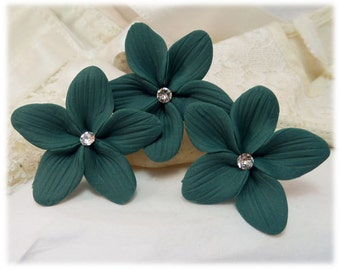 Teal Flower Hair Pins - Teal Flower Hair Clips, Teal Flower Bobby Pins, Teal Flower Wedding Hair Pins, Teal Flower Bridal Hair Pins
