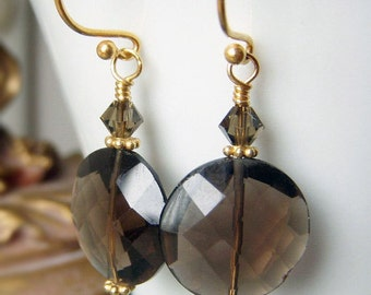 Smoky Quartz Earrings Gold Vermeil, Gift Under 20 Earrings, Luxe Coin Shape Round Gemstone, Brown Taupe Neutral Earrings