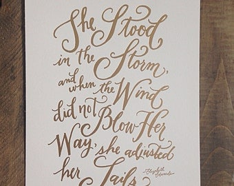 Gold foil print - She Stood in the Storm