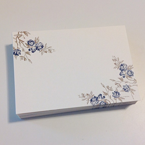 Blue Roses Place tags - Blank Stock, set of 35
