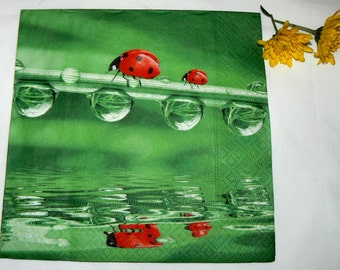 2 Napkins  from Holland ladybugs