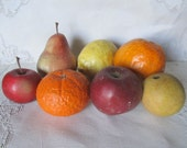 Vintage Lot Of 7 Chalkware Fruit, Photo Props, Craft Supplies