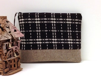 Clutch Purse - Plaid Checks on Brown Wool