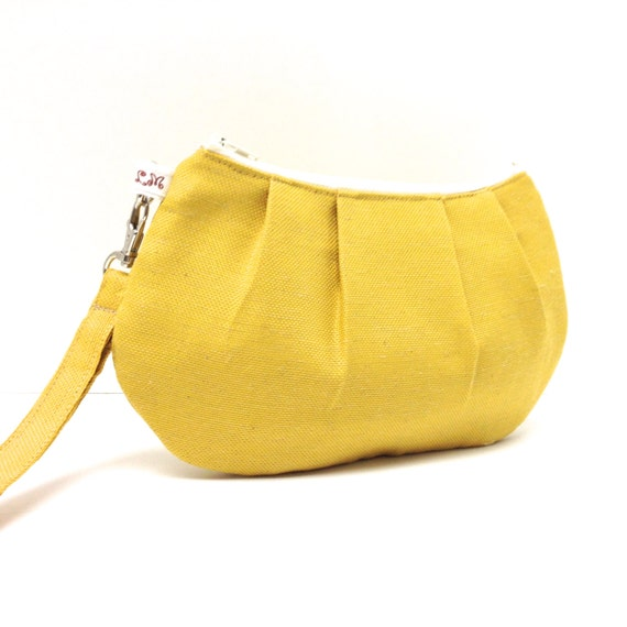 Pleated Wristlet Clutch Purse - Mustard Yellow Linen Look