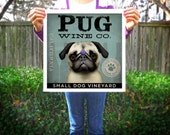 PUG Wine Company original illustration graphic artwork giclee archival premium poster print by Stephen Fowler PIck A Size