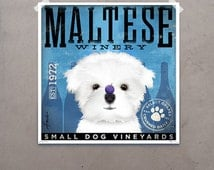 Maltese Winery dog artwork original graphic illustration signed archival artists print giclee by stephen fowler Pick A Size