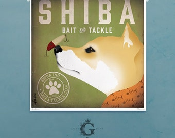 Shiba Inu Bait and Tackle Dog fishing Company illustration giclee archival signed artist's print by Stephen Fowler