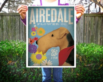 Airedale dog Flower company artwork original graphic illustration signed archival artists print giclee