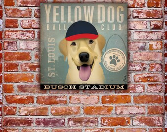Yellow Dog Baseball Club St Louis original graphic artwork on gallery wrapped canvas by stephen fowler