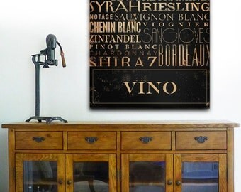 Vino wines of the world typography bar art on gallery wrapped canvas by Stephen Fowler