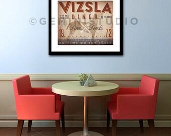 Vizsla Diner Kitchen Chef dog illustration artwork UNFRAMED giclee signed print by Stephen Fowler