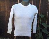 70s Vintage Thermal shirt Jockey waffle knit Long Johns cotton XL