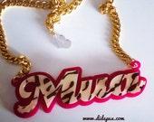 Sale!! LEOPARD MUA WORD necklace laser cut acrylic