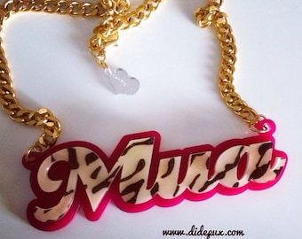Last one! Sale!! LEOPARD MUA WORD necklace laser cut acrylic