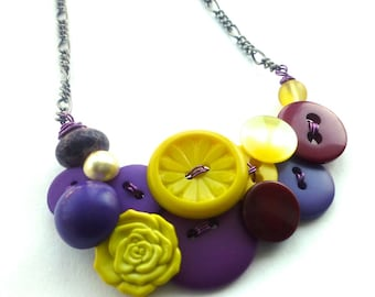 Violets Purples and Yellows Button Necklace - Complimentary Colors