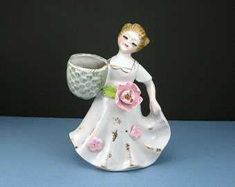 "Porcelain Girl with Basket Figurine, 5"" Vase, White Gown with Pink Rose, Extended Eyelashes, Vintage c1950 Cottage Chic Gift"