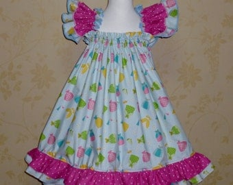 Princess Dress, Girl Blue and Hot Pink Polka Dots Dress, Happy Ever After Baby Doll Style  Dress, Birthday Dress, tea Time Dress
