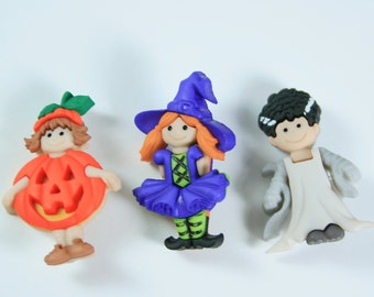 Adorable Halloween Girls in Costume Novelty Buttons