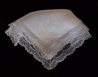 Elegant Fancy Irish Linen and Lace Hankie Personalized
